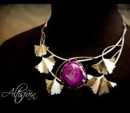 Collier «Histoires d'Elles: la Romanesque» Agate Druzy violette