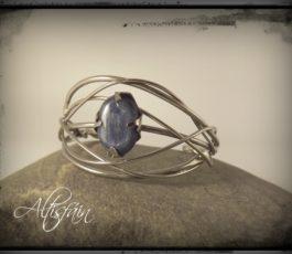 Bracelet inox «Les Péchés Capitaux: la Paresse» Cyanite