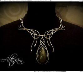 Collier inox «Les Diaboliques: Morgane» Obsidienne Œil Céleste