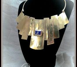 """Collier laiton """"Les Diaboliques: K' Abel"""" Lapis Lazuli"""