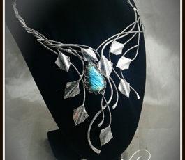 "Collier pendentif inox ""Les Diaboliques: Poison Ivy"" Labradorite"